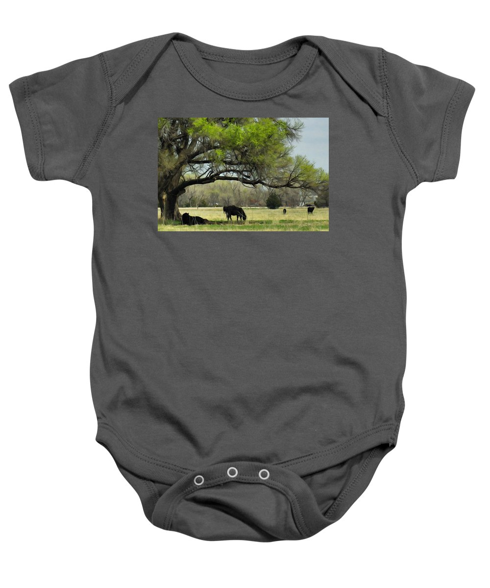 Cattle Baby Onesie featuring the photograph Shady Rest by Bill Kesler