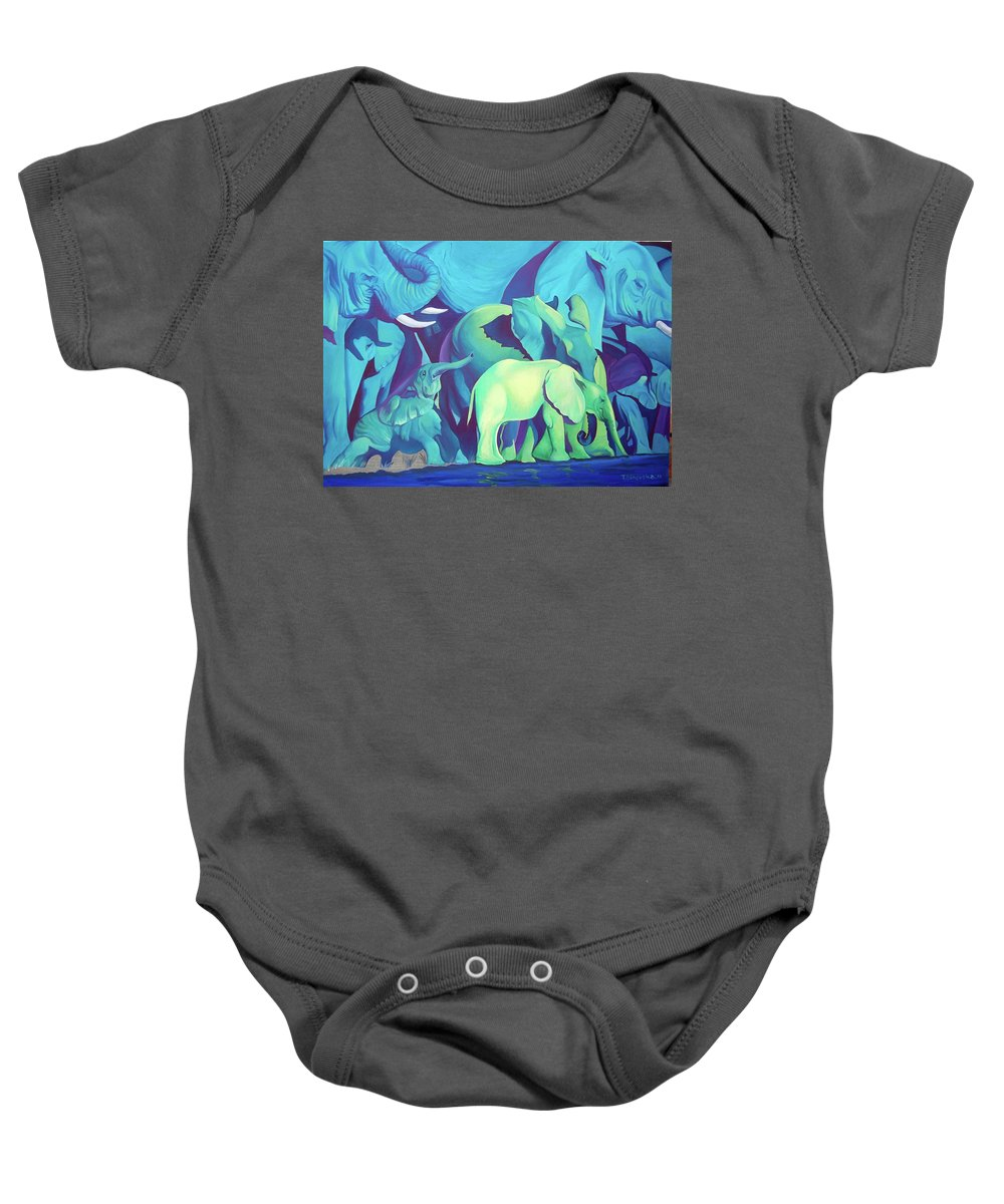 Magic Africa Baby Onesie featuring the painting Blue Elephants by Tatyana Binovska
