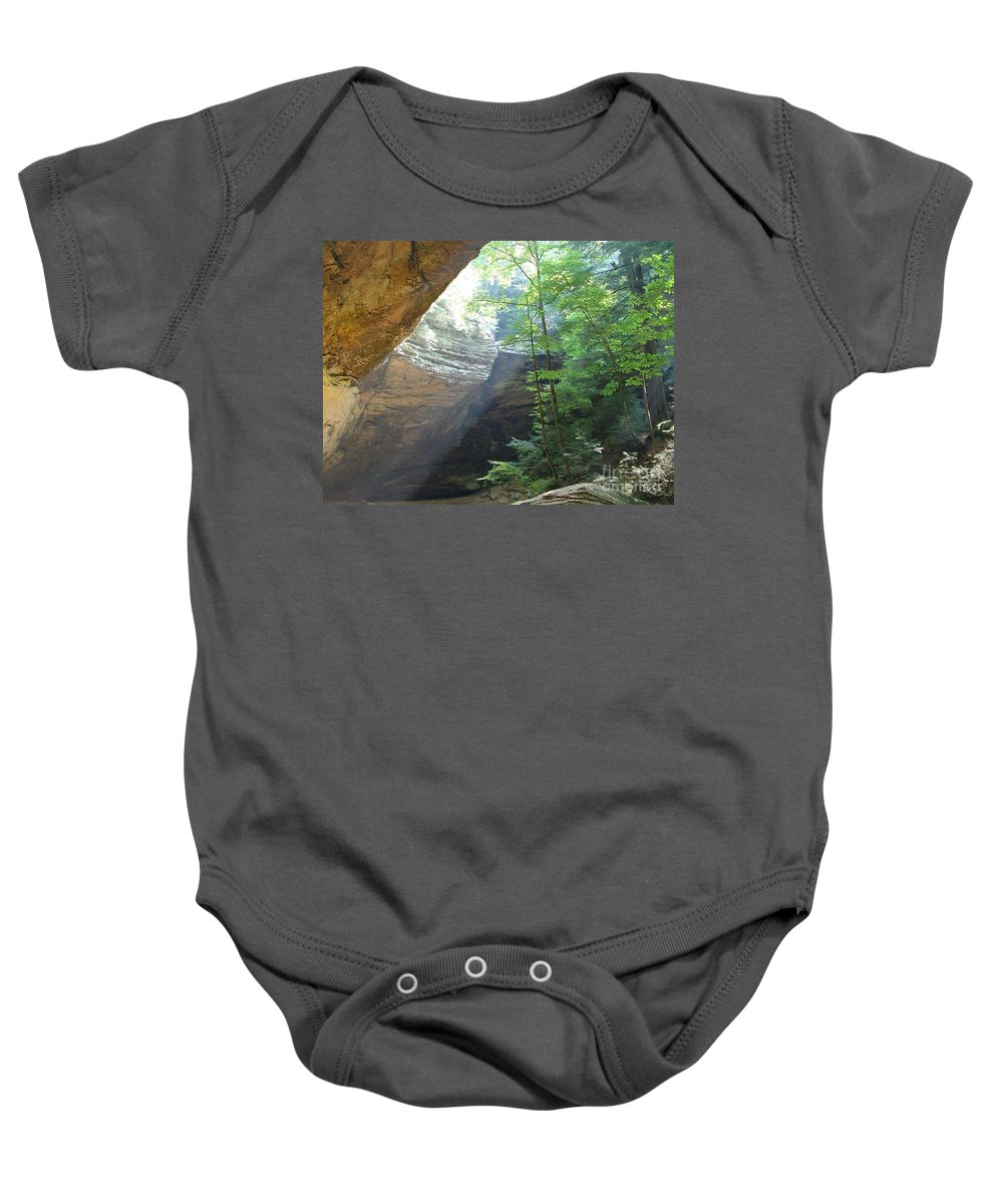 Photograph Baby Onesie featuring the photograph Ash Cave by Mindy Newman
