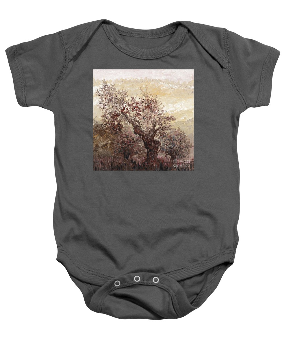 Landscape Baby Onesie featuring the painting Asian Mist by Nadine Rippelmeyer