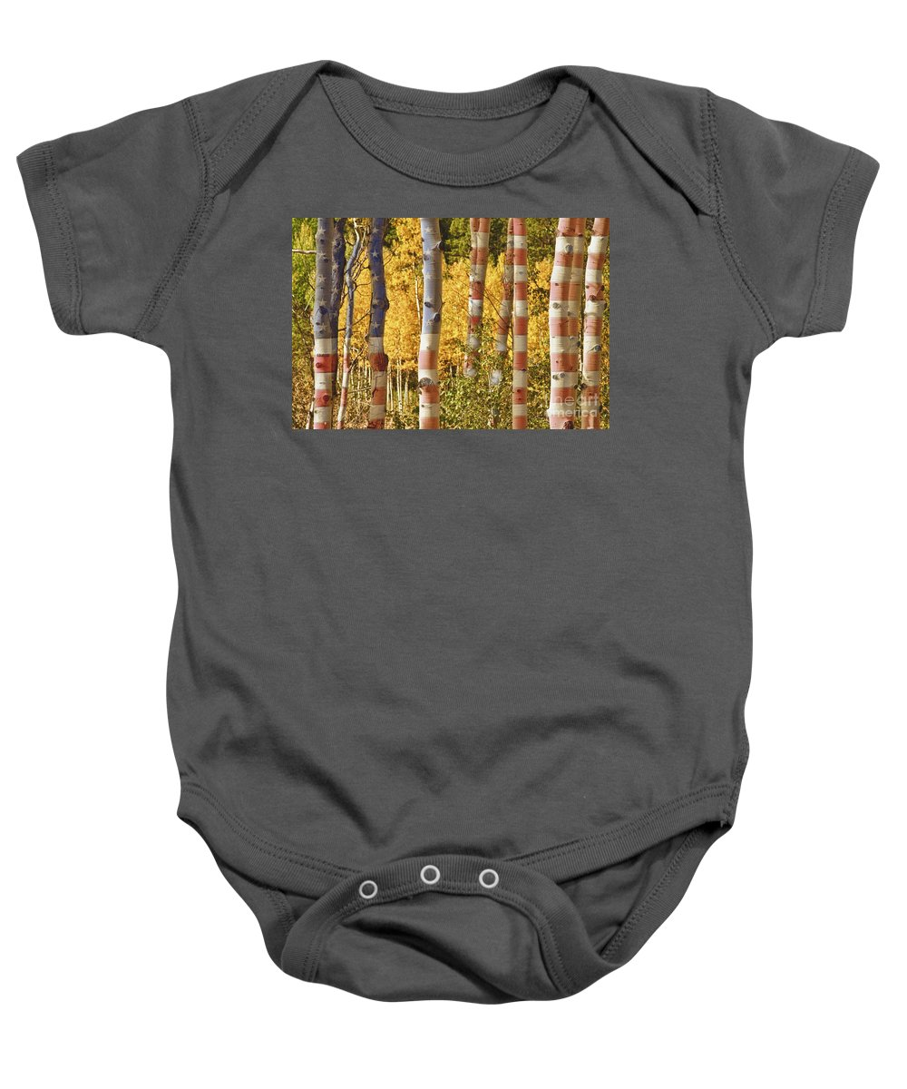 Usa Baby Onesie featuring the photograph Aspen Gold Red White And Blue by James BO Insogna