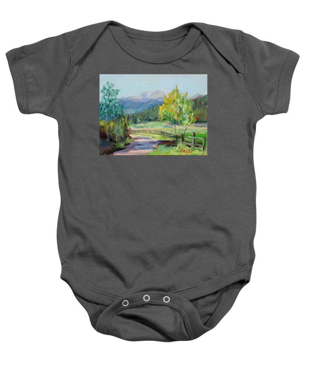 Rocky Mountains Baby Onesie featuring the painting Aspen Lane by Marie Massey