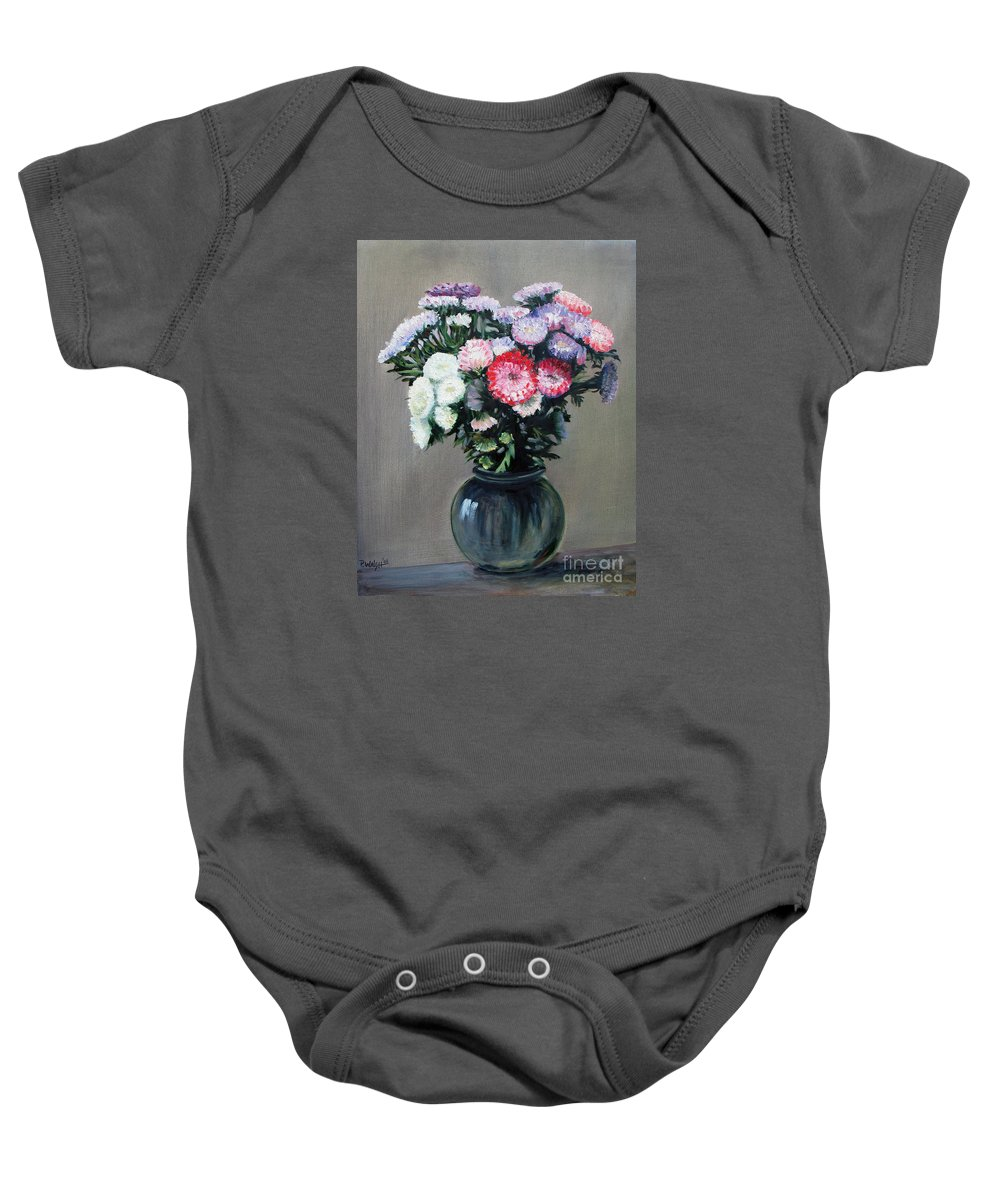 Flowers Baby Onesie featuring the painting Asters by Paul Walsh