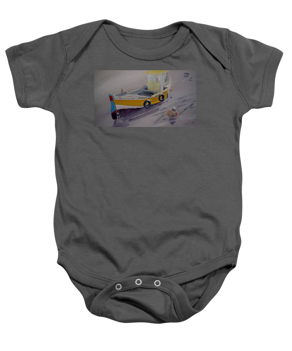 Seascape Baby Onesie featuring the painting At Low Tide by Charles Stuart