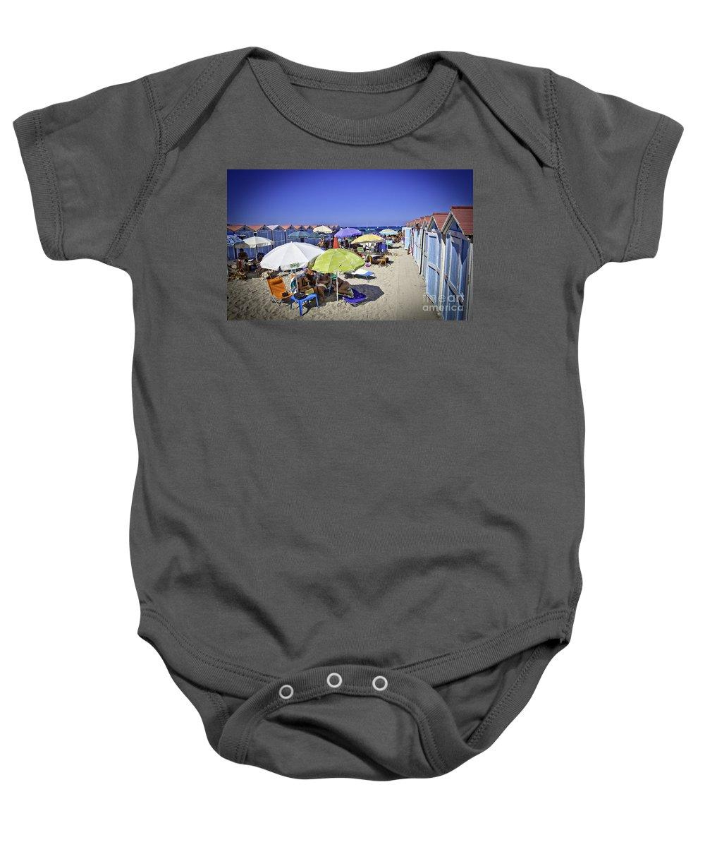 Mondello Beach Baby Onesie featuring the photograph At Mondello Beach - Sicily by Madeline Ellis