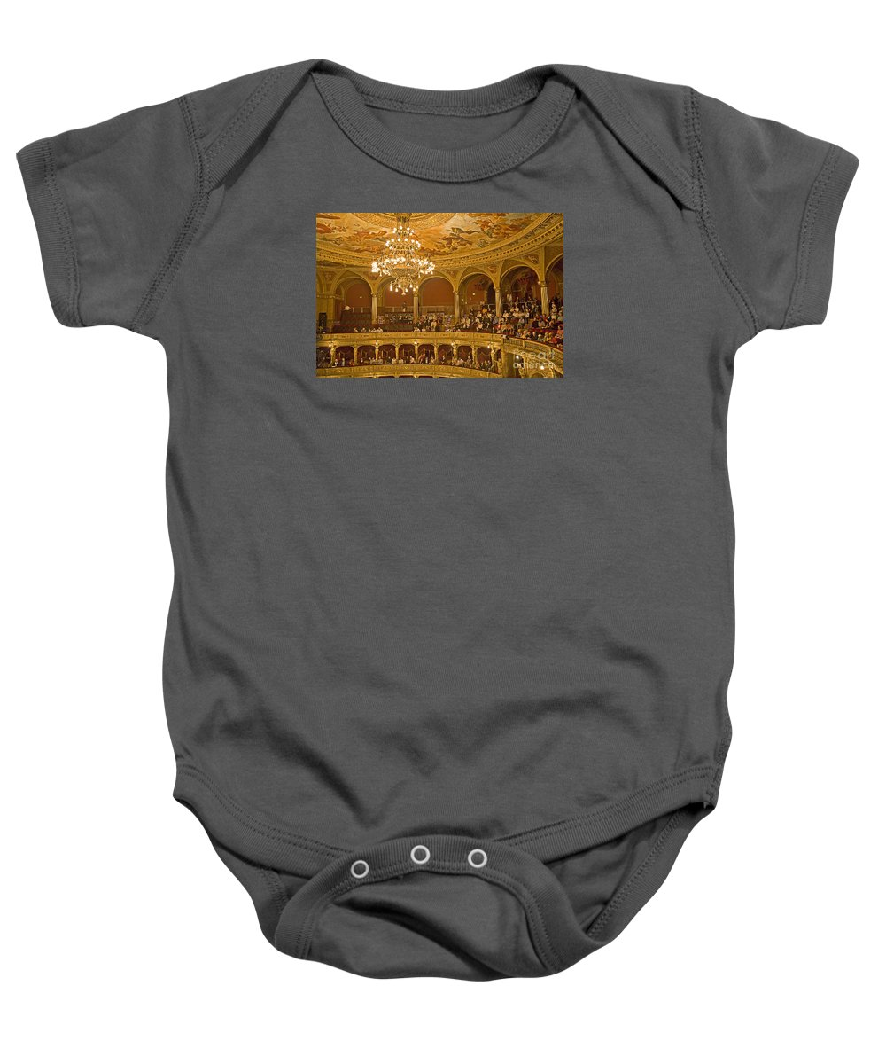 Budapest Opera Baby Onesie featuring the photograph At The Budapest Opera by Madeline Ellis