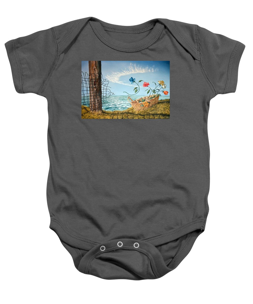 Flower Baby Onesie featuring the painting At The End Of The Fence I Am Free by Christopher Shellhammer