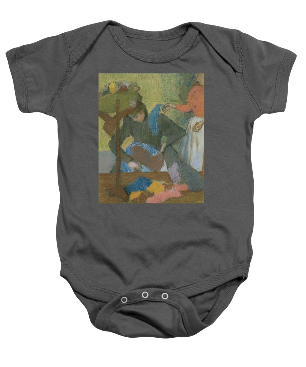 At The Milliner's Baby Onesie featuring the pastel At The Hat Maker by Edgar Degas