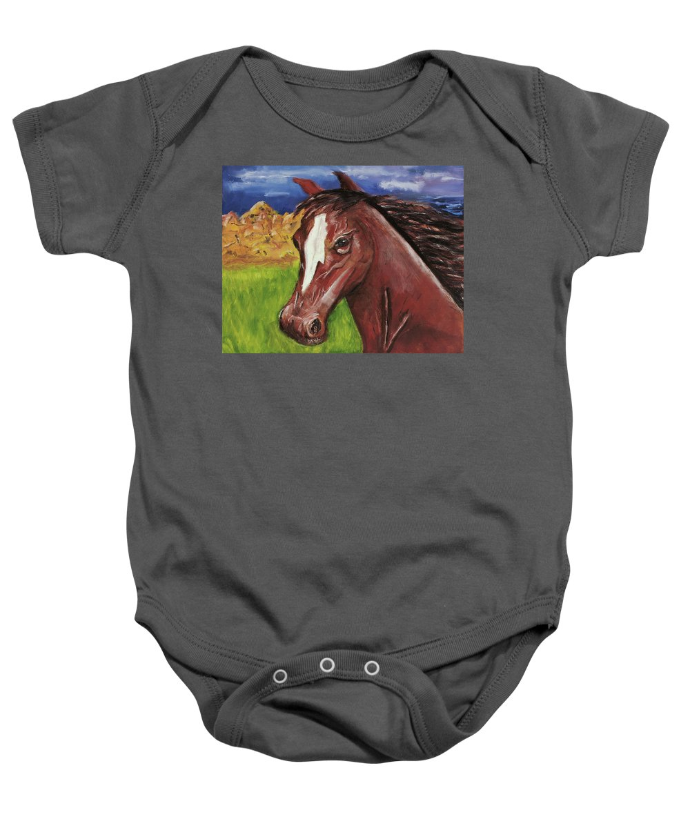 Horse Baby Onesie featuring the painting Atitude by Terry Lewey