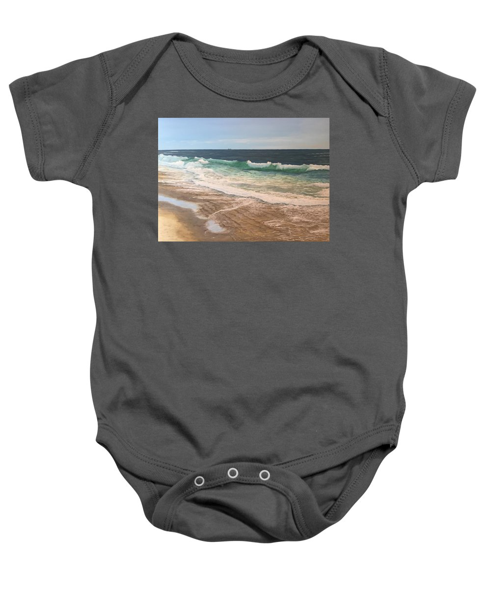 Landscape Baby Onesie featuring the painting Atlantic Beach Waves by Heike Gramckow