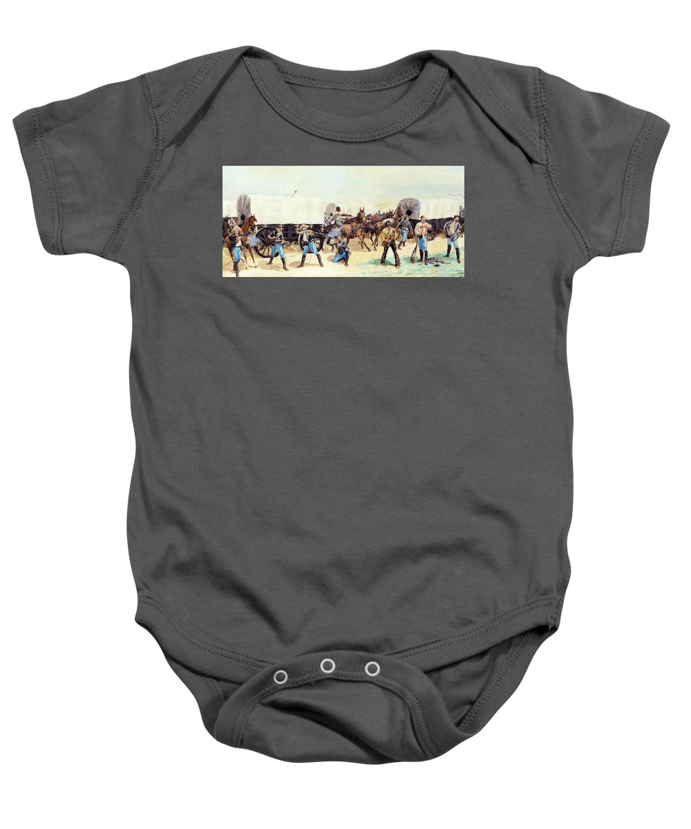 Attack Baby Onesie featuring the painting Attack On The Supply Train 1885 by Remington Frederic