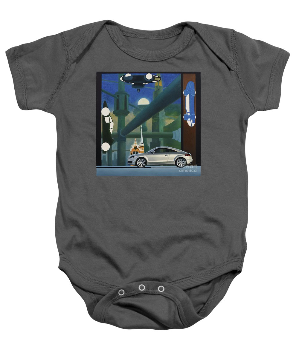 Audi Baby Onesie featuring the painting Audi Gaudi - The Retro Of The Future by Oleg Konin