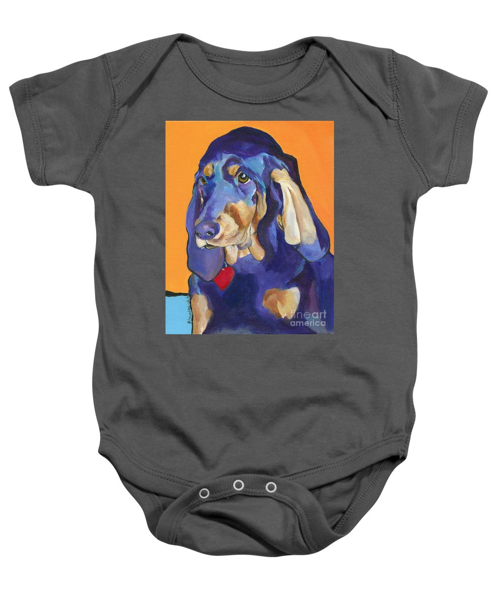 Bloodhound Baby Onesie featuring the painting Augie by Pat Saunders-White
