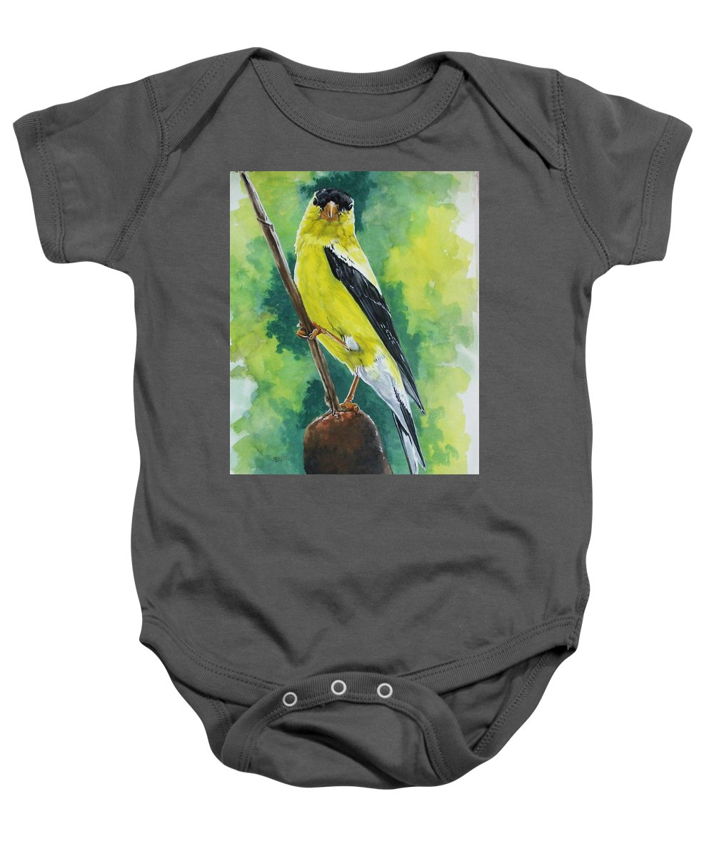 Common Bird Baby Onesie featuring the painting Aureate by Barbara Keith