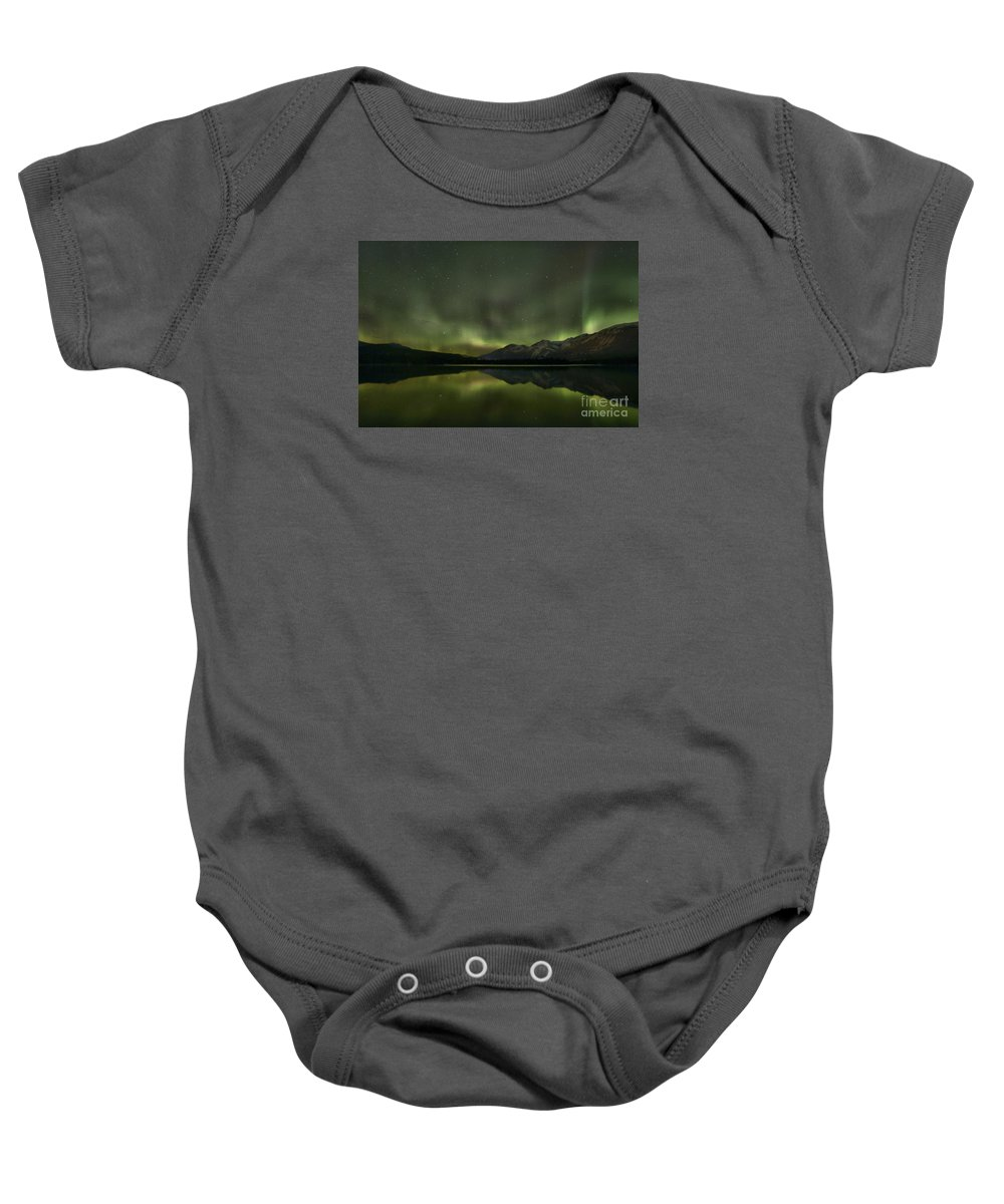 Canadian Northern Lights Baby Onesie featuring the photograph Aurora Light Beams by Adam Jewell