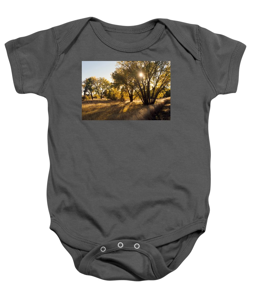 Fall Baby Onesie featuring the photograph Autum Sunburst by Jerry McElroy