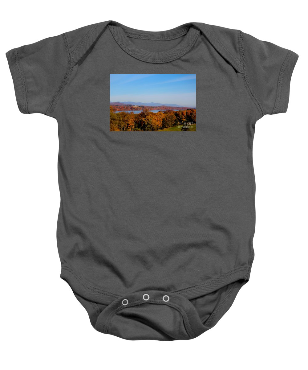 Vanderbilt Mansion Baby Onesie featuring the photograph Autumn And The Hudson River by Victory Designs