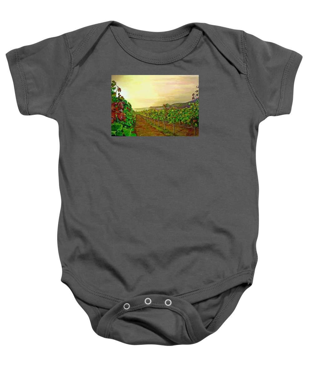 Vineyard Baby Onesie featuring the painting Autumn At Steenberg by Michael Durst
