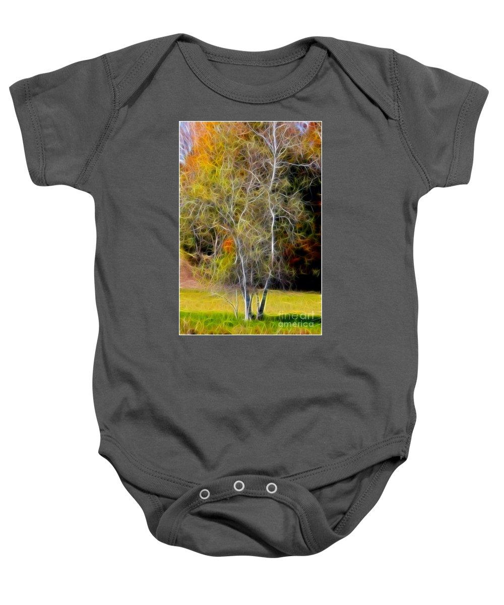 Photo Baby Onesie featuring the photograph Autumn Birch by Deborah Benoit