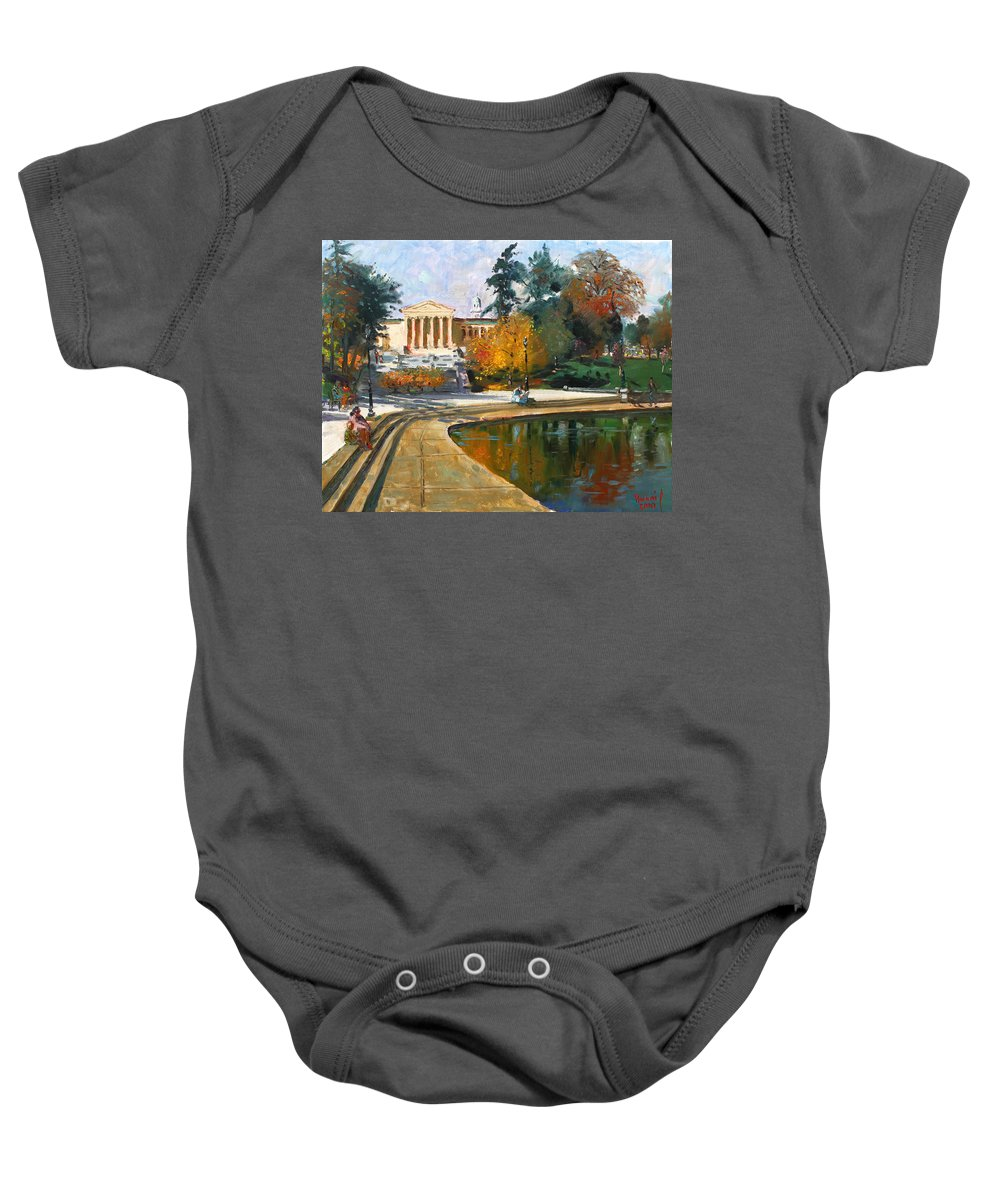 Landscape Baby Onesie featuring the painting Autumn By Delaware Lake by Ylli Haruni