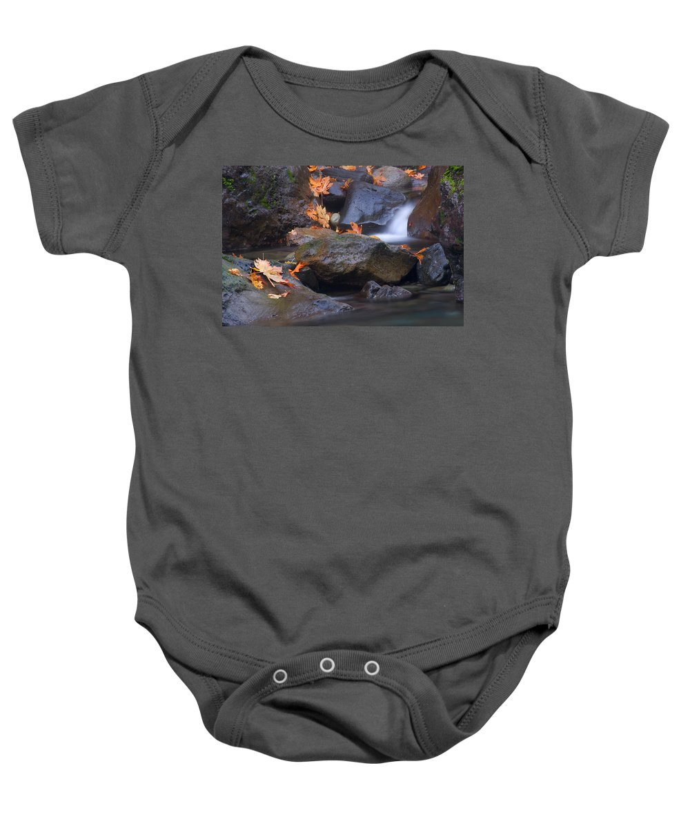 Fall Baby Onesie featuring the photograph Autumn Cascades by Mike Dawson