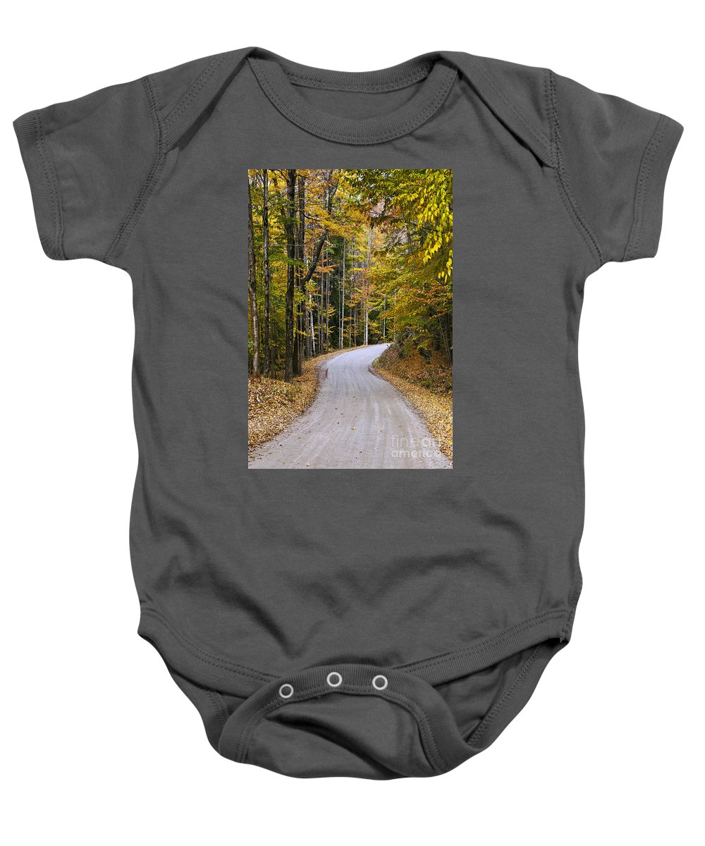 New England Baby Onesie featuring the photograph Autumn Country Road by John Greim