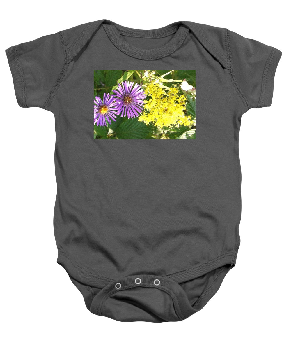 Aster Baby Onesie featuring the photograph Autumn Duo by Nelson Strong