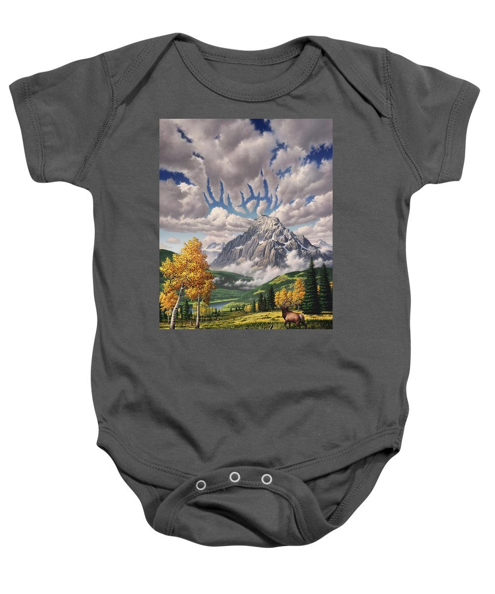 Elk Baby Onesie featuring the painting Autumn Echos by Jerry LoFaro