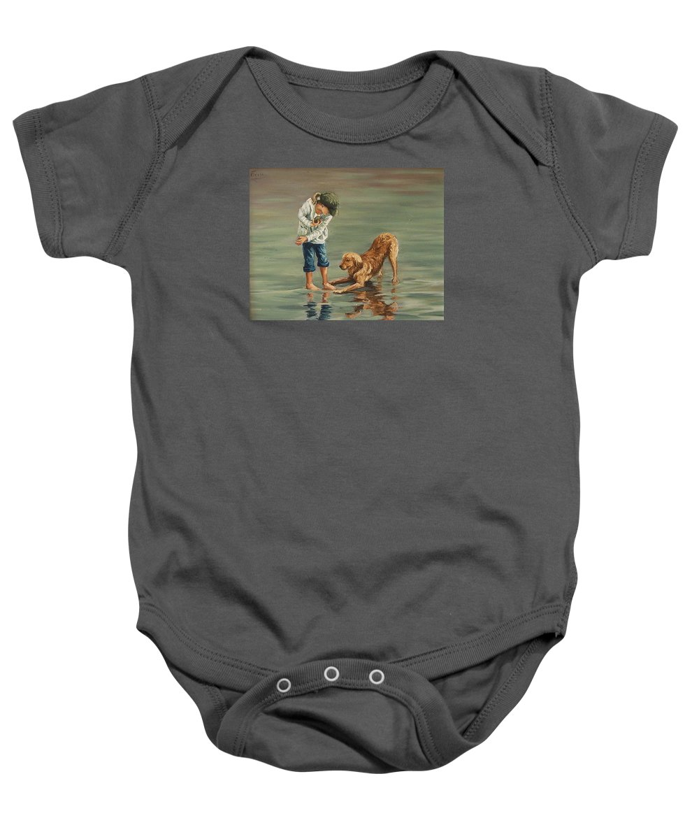Girl Kid Child Figurative Dog Sea Reflection Playing Water Beach Baby Onesie featuring the painting Autumn Eve by Natalia Tejera