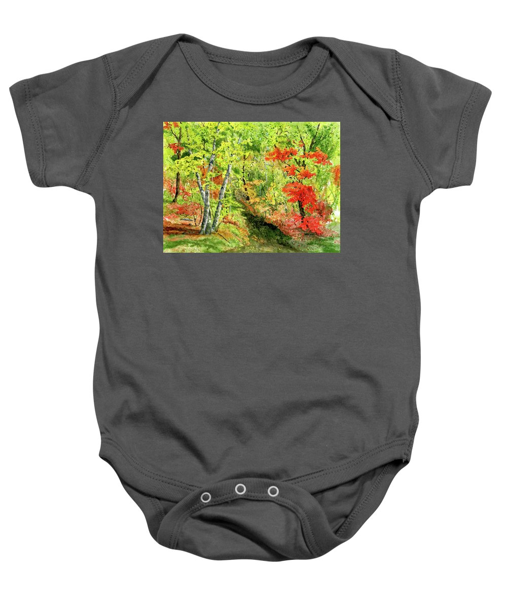 Autumn Baby Onesie featuring the painting Autumn Fun by Mary Tuomi
