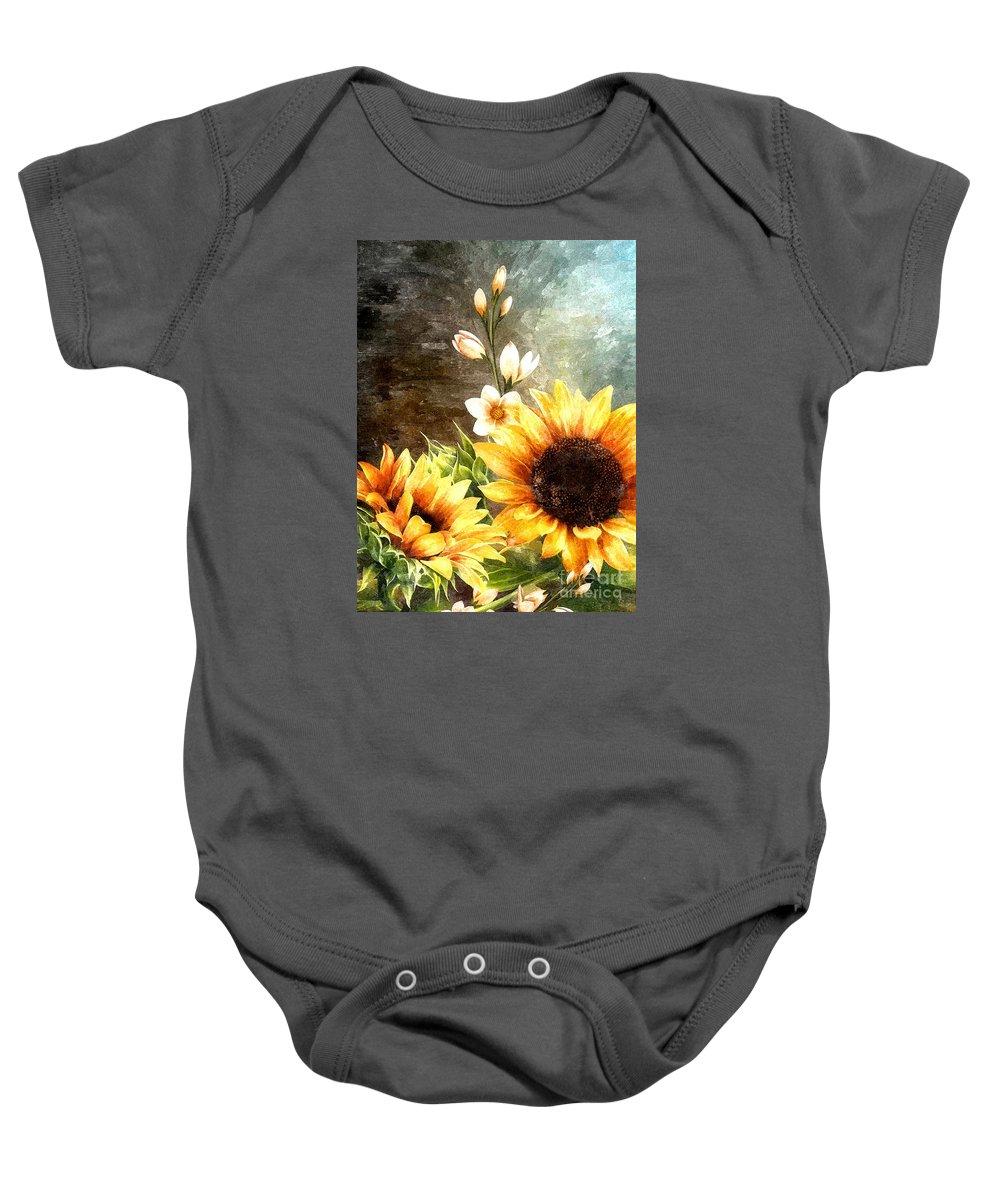 Sunflowers Baby Onesie featuring the digital art Autumn Glory by Autumn Moon