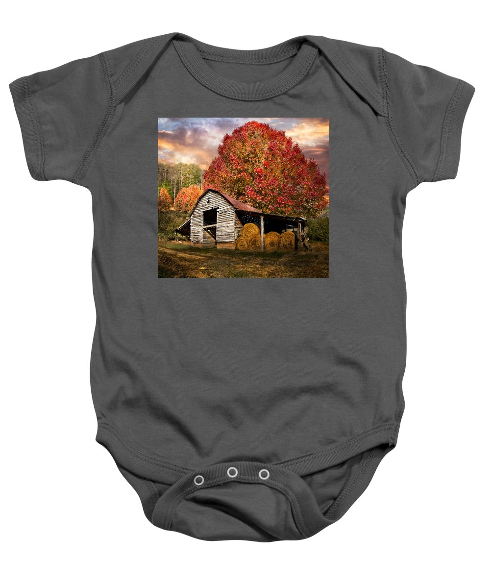 Appalachia Baby Onesie featuring the photograph Autumn Hay Barn by Debra and Dave Vanderlaan
