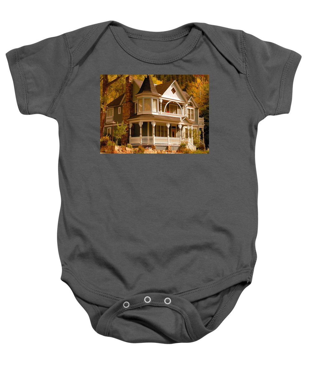 Autumn Baby Onesie featuring the painting Autumn House by David Lee Thompson