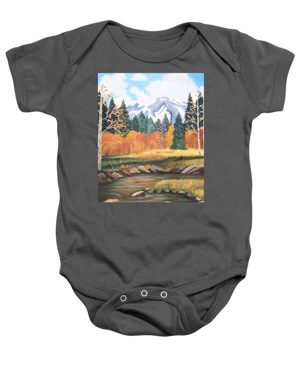 Landscape Baby Onesie featuring the painting Autumn In The Mountans by Ruth Housley