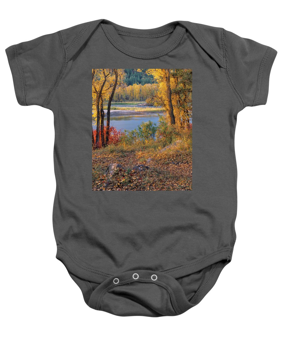 Appealing Baby Onesie featuring the photograph Autumn by Leland D Howard
