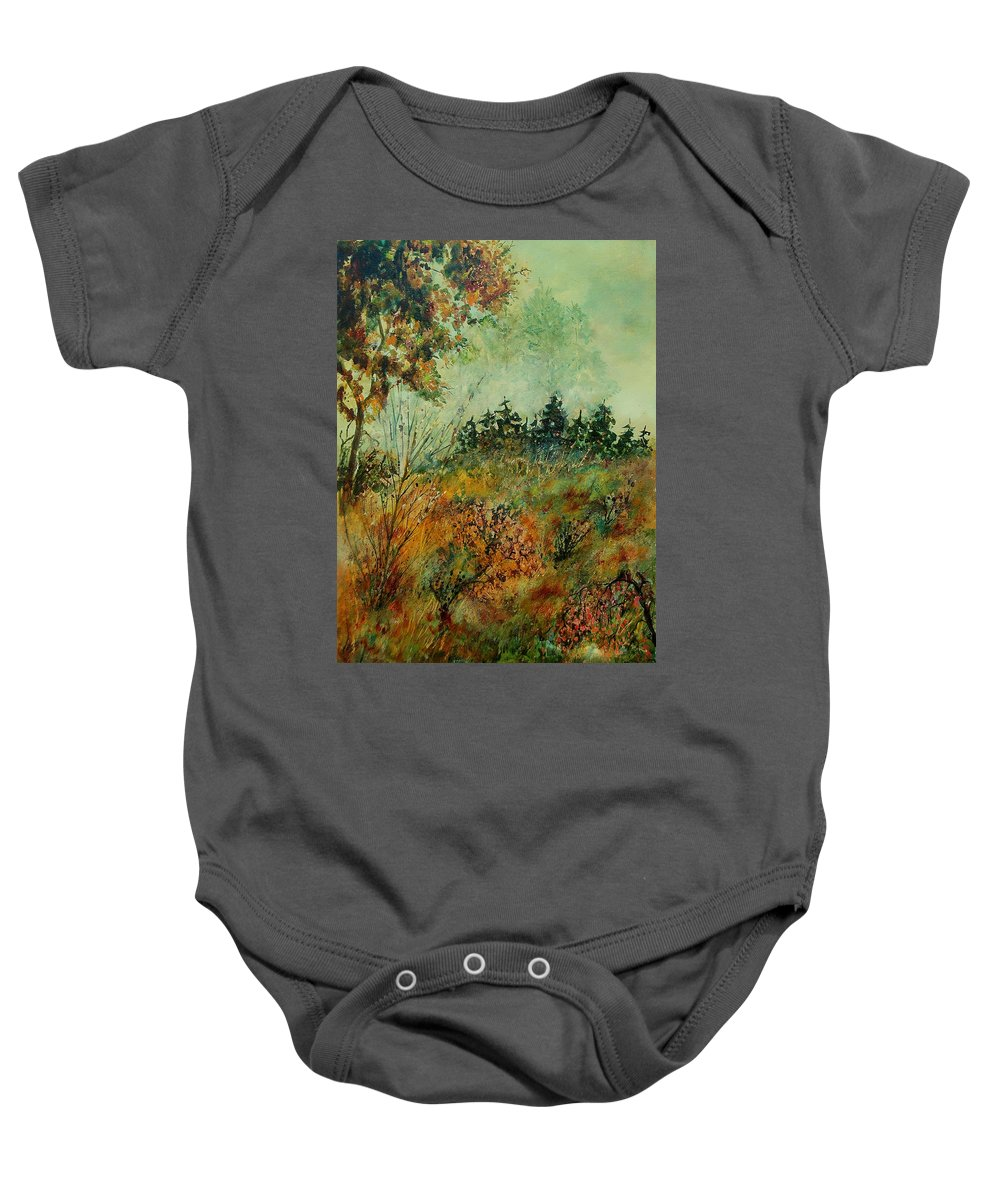 Tree Baby Onesie featuring the painting Autumn Mist 68 by Pol Ledent