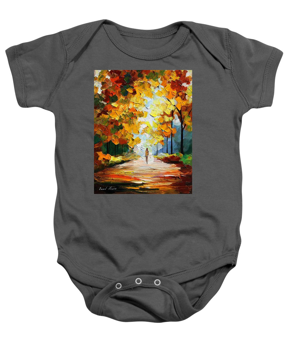 Landscape Baby Onesie featuring the painting Autumn Mood by Leonid Afremov