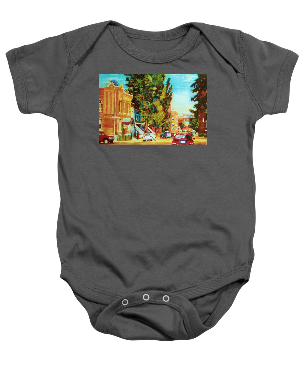 Bagg Street Synagogue Rue Bagg And Clark Baby Onesie featuring the painting Autumn On Bagg Street by Carole Spandau