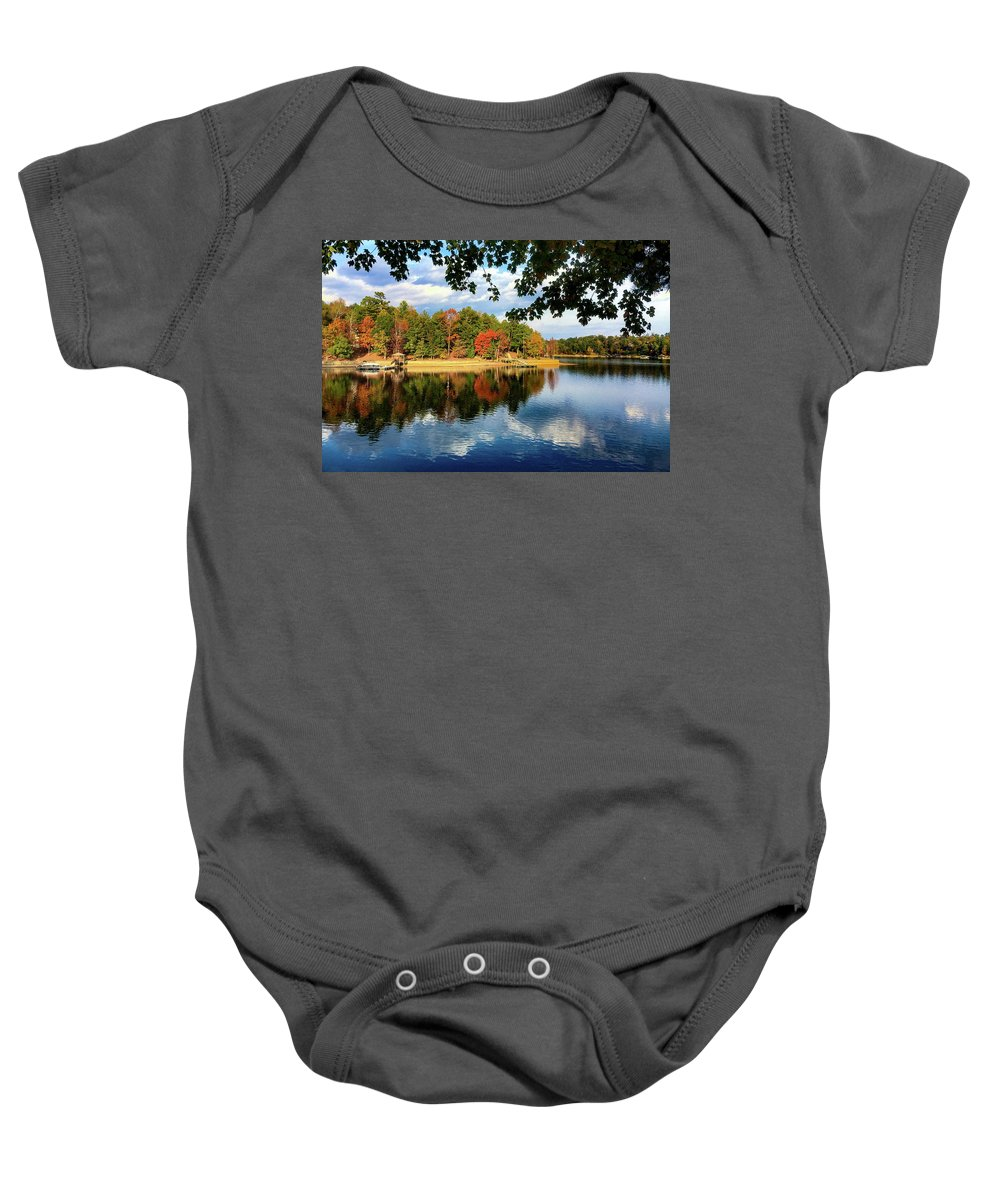 Autumn Colors Baby Onesie featuring the photograph Autumn On The Lake by Kathy Kmonicek