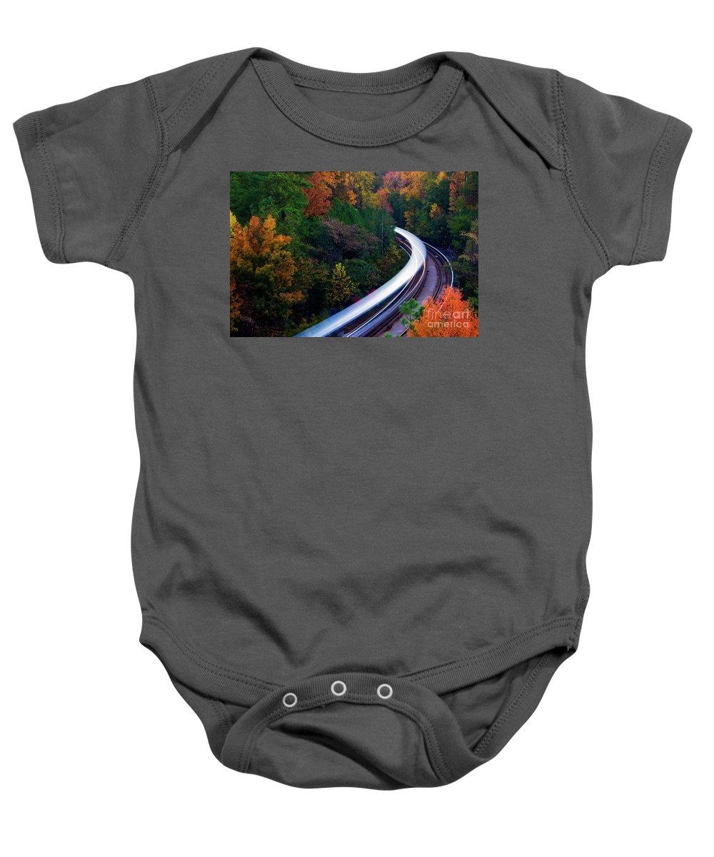 Atlanta Baby Onesie featuring the photograph Autumn Rails by Doug Sturgess