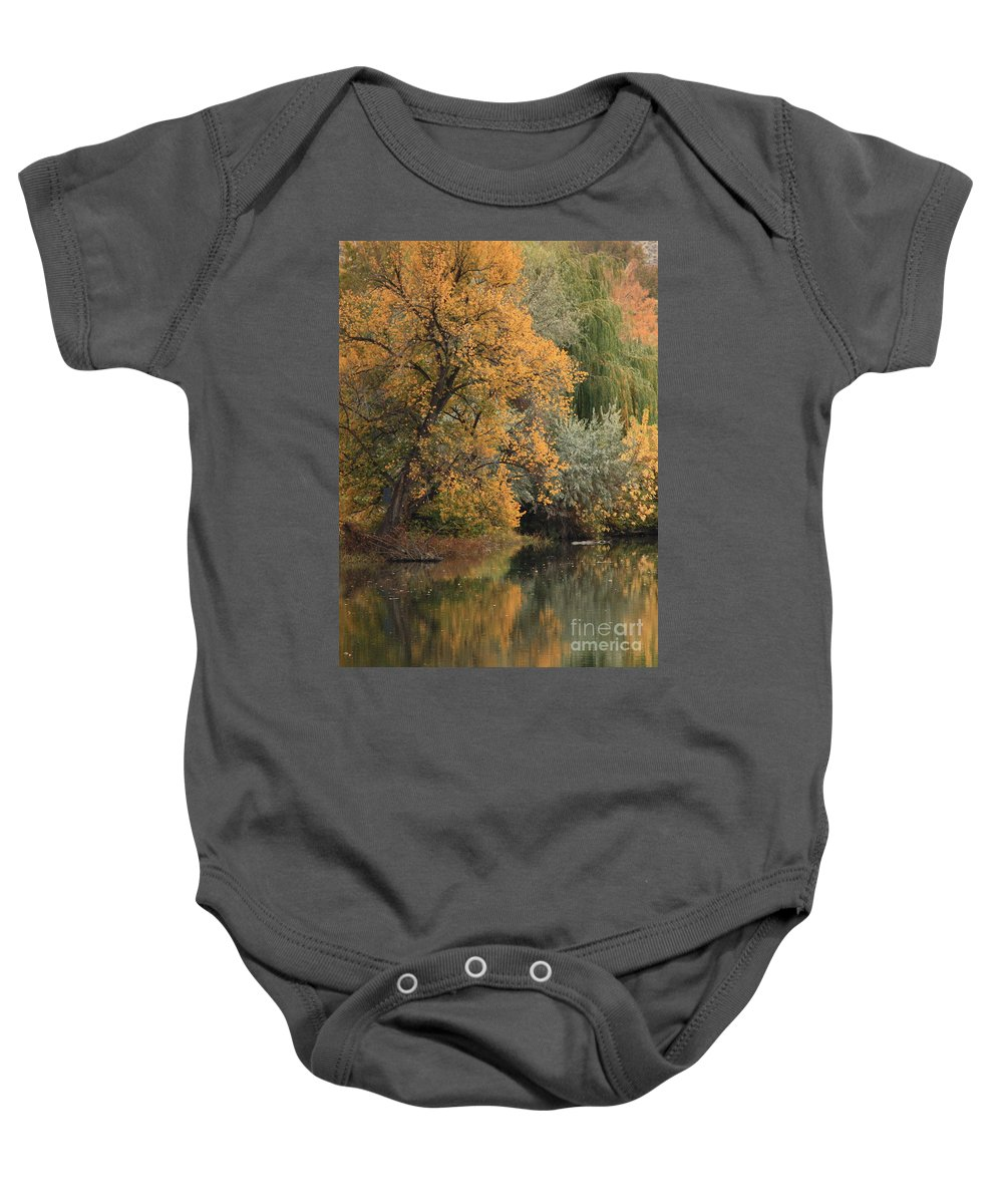 Landscape Baby Onesie featuring the photograph Autumn Riverbank by Carol Groenen