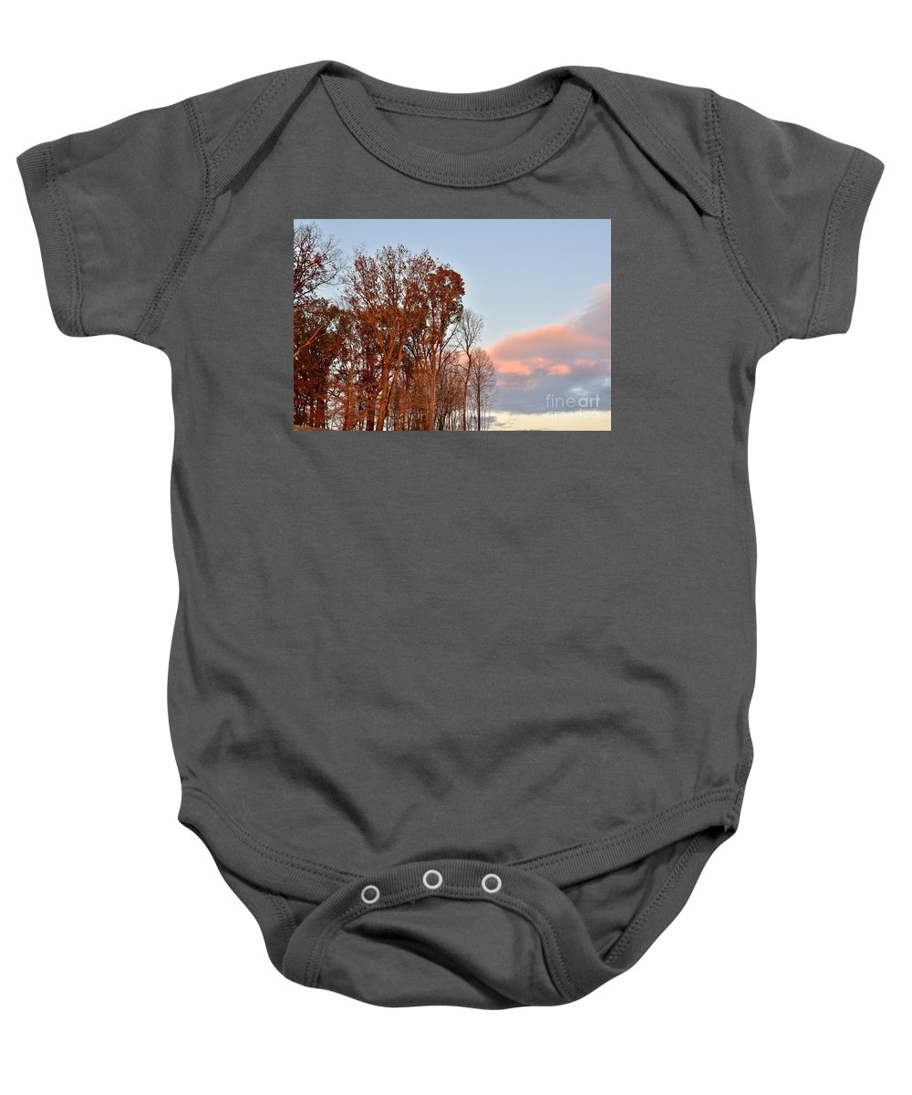 Amazing Sunset Baby Onesie featuring the photograph Autumn Sky by Jeramey Lende