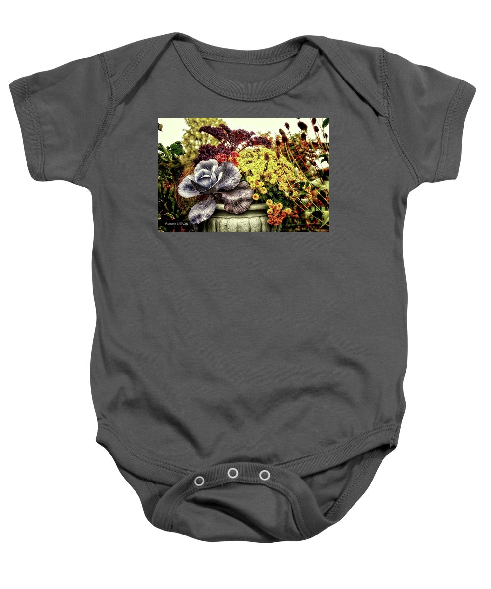 Vase Baby Onesie featuring the photograph Autumn Still Life by Thomas Woolworth