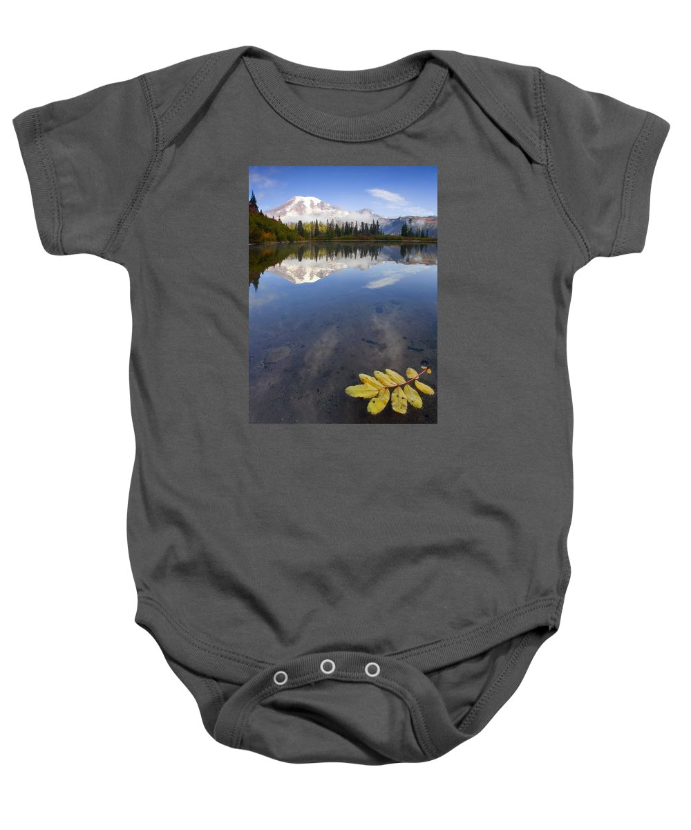 Rainier Baby Onesie featuring the photograph Autumn Suspended by Mike Dawson