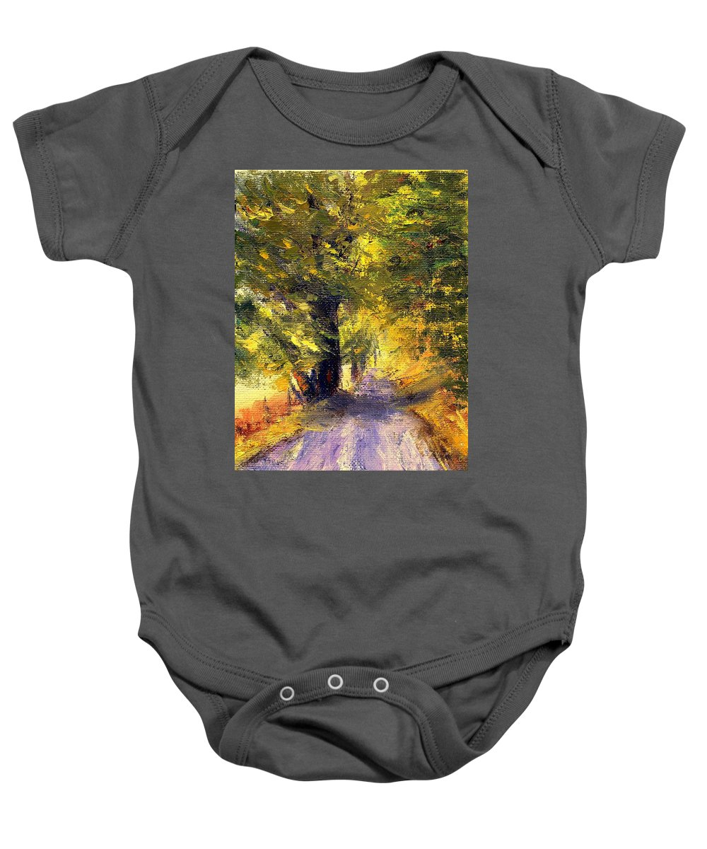 Autumn Baby Onesie featuring the painting Autumn Walk by Gail Kirtz