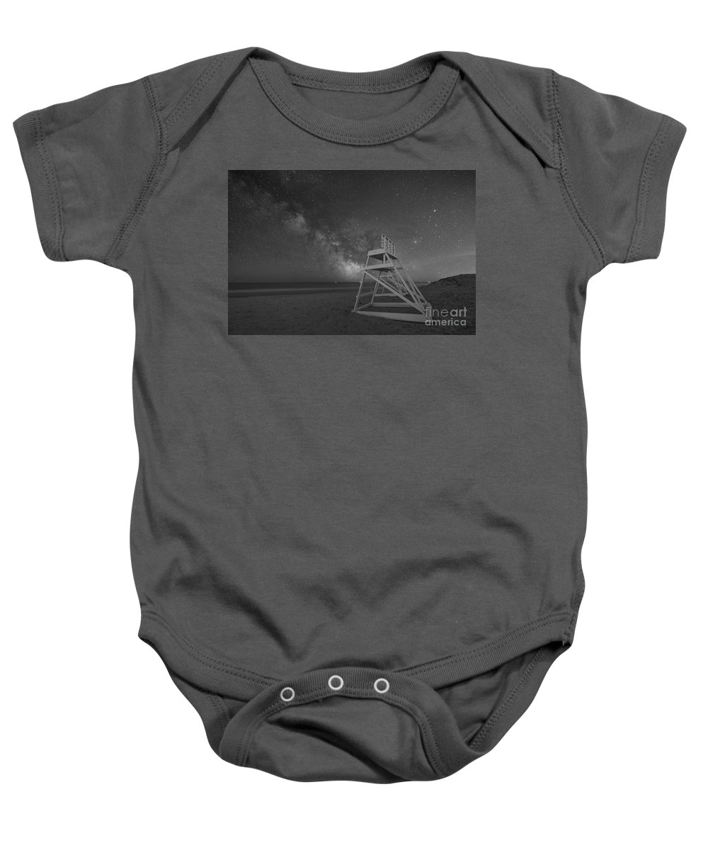 Avalon Baby Onesie featuring the photograph Avalon Light Guard Bw by Michael Ver Sprill