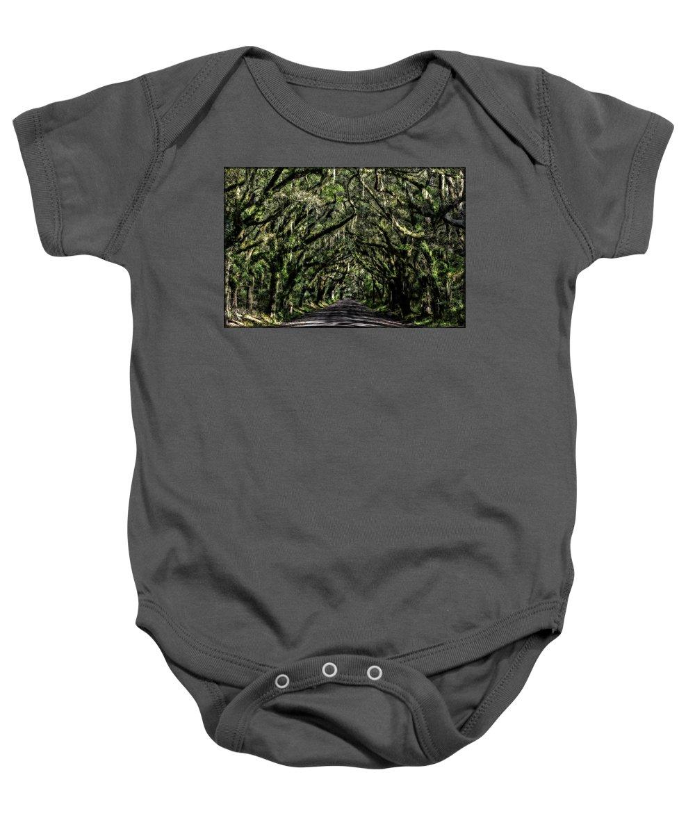 Oaks Baby Onesie featuring the photograph Avenue Of Oaks by Erika Fawcett