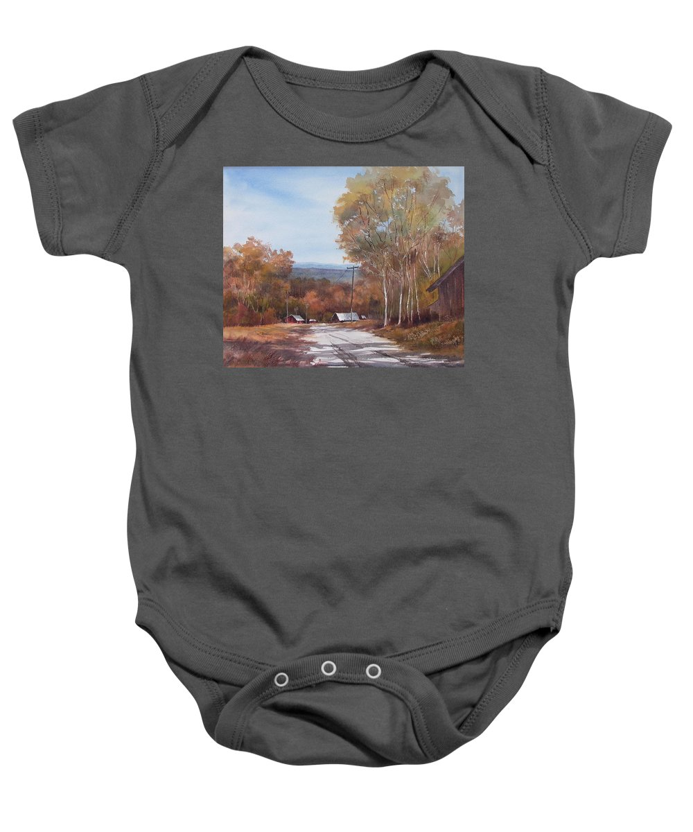 Landscape Baby Onesie featuring the painting Awesome Autumn by Tina Bohlman