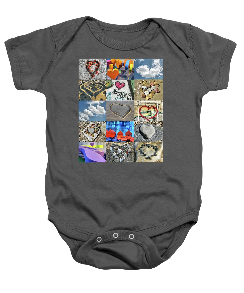 Heart Baby Onesie featuring the photograph Awesome Hearts - Collage by Daliana Pacuraru
