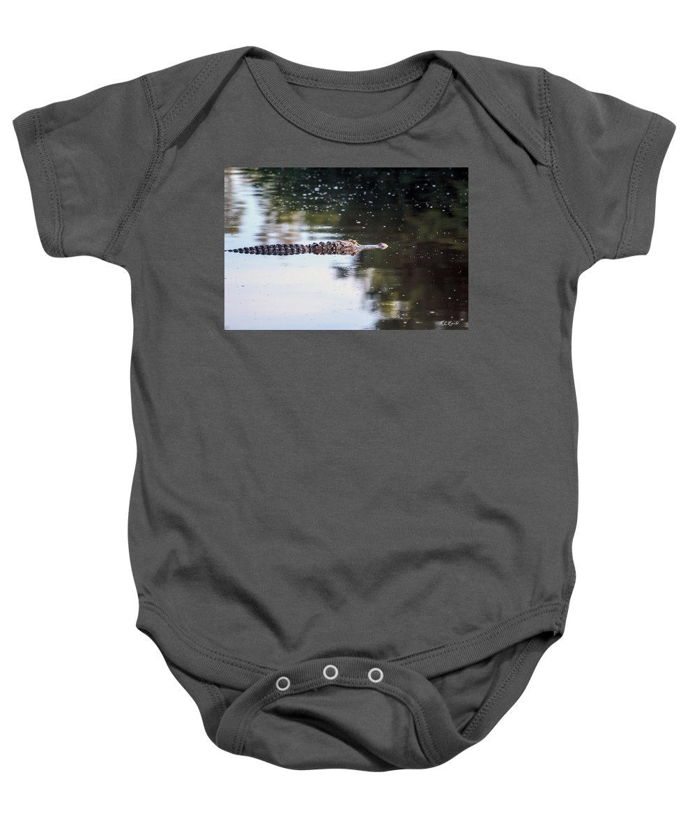Florida Baby Onesie featuring the photograph Babcock Wilderness Ranch - Alligator Long Profile by Ronald Reid
